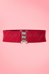 Collectif Clothing Nessa Cinch Stretch Belt Années 50 en Rouge