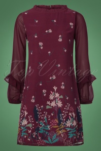 70s Lily Snowdrop Border Tunic in Mulberry