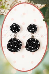 40s Romantic Black Roses Polkadot Earrings