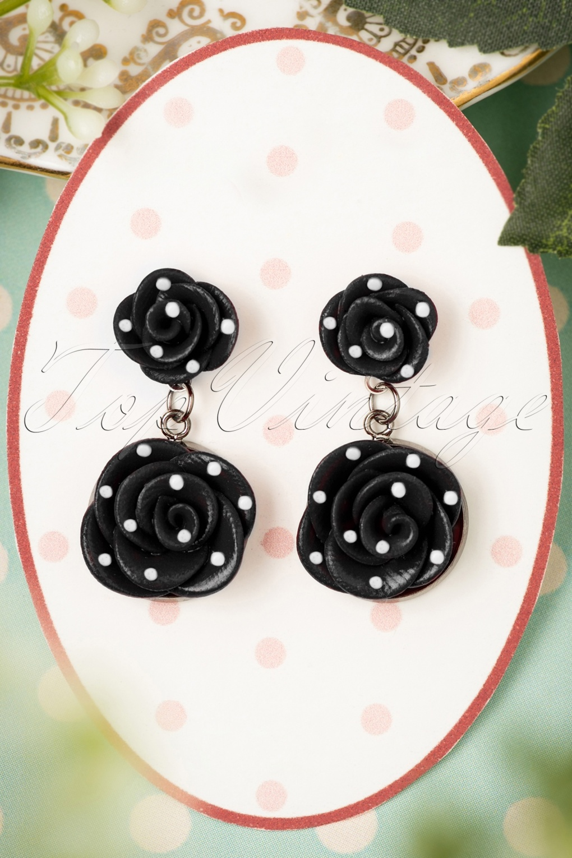 1940s Costume Jewelry: Necklaces, Earrings, Brooch, Bracelets 40s Romantic Black Roses Polkadot Earrings £13.28 AT vintagedancer.com