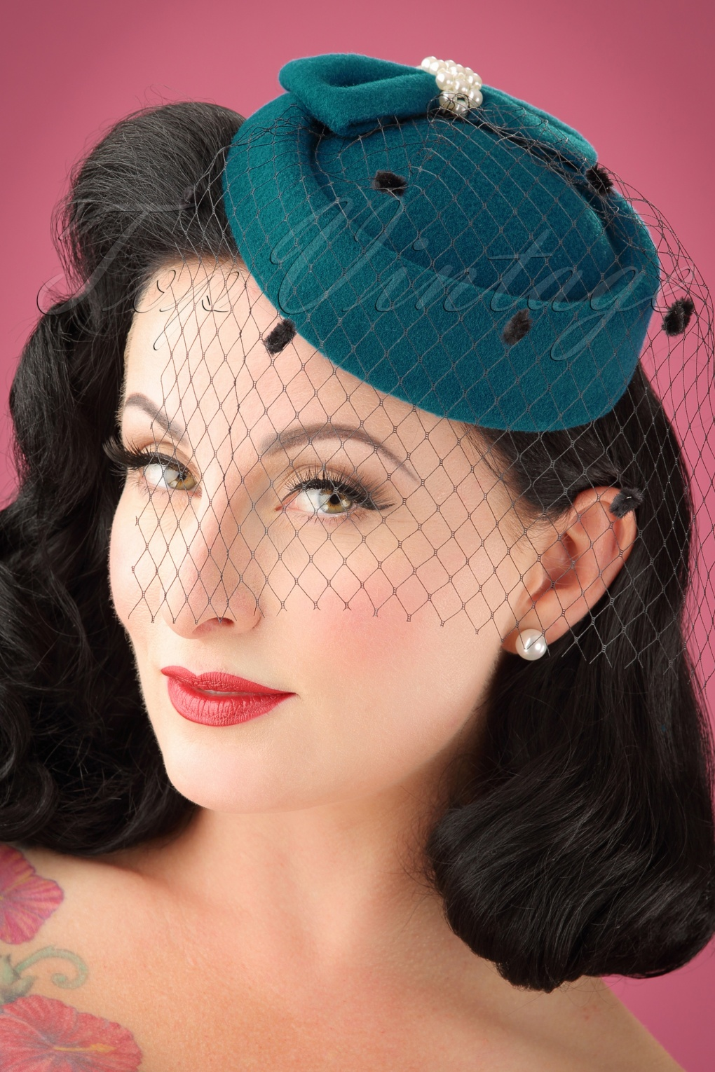 Women's Vintage Hats | Old Fashioned Hats | Retro Hats 50s Judy Hat in Teal £17.48 AT vintagedancer.com