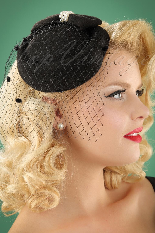 Women's Vintage Hats | Old Fashioned Hats | Retro Hats 50s Judy Hat in Black £17.44 AT vintagedancer.com