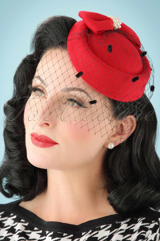 1950s Hats: Pillbox, Fascinator, Wedding, Sun Hats 50s Judy Hat in Red £17.45 AT vintagedancer.com