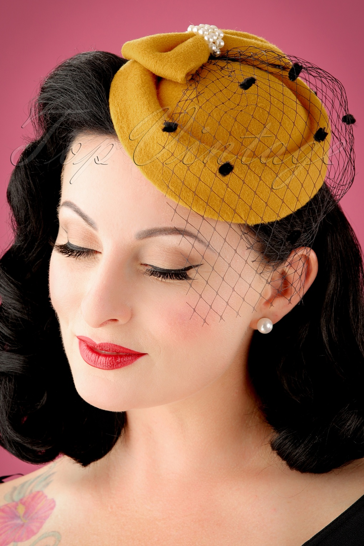 1950s Hats: Pillbox, Fascinator, Wedding, Sun Hats 50s Judy Hat in Mustard £10.50 AT vintagedancer.com
