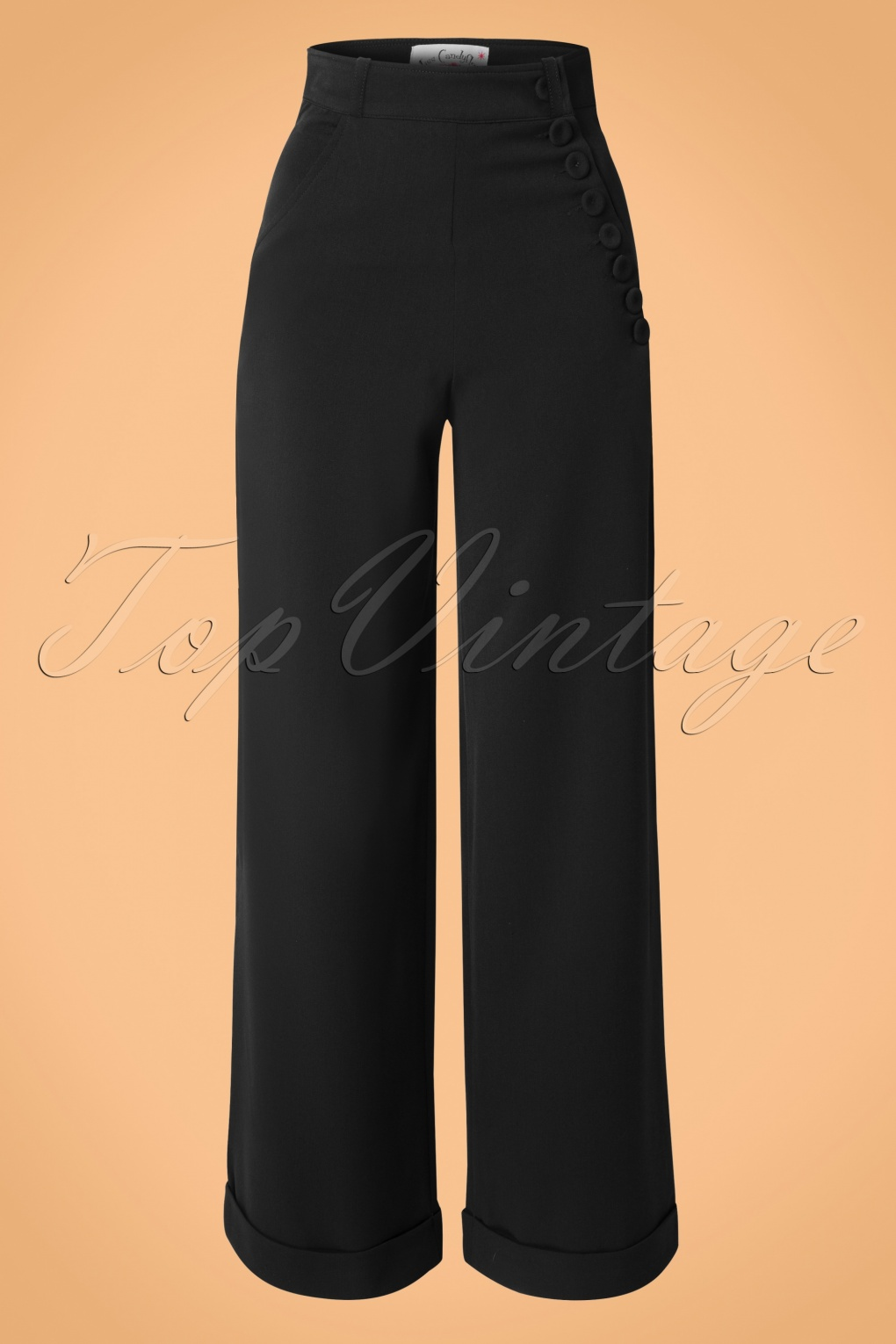 Vintage High Waisted Trousers, Sailor Pants, Jeans 40s Nicolette High Waisted Stretch Trousers in Black £71.88 AT vintagedancer.com