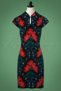 70s Belle de Jour Chinese Dress in Black