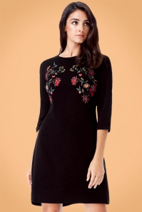 Vintage Chic 60s Floral Black Dress 106 10 23175 20170920 0015