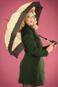 50s Seduction Pin Dots Umbrella in Cream and Black