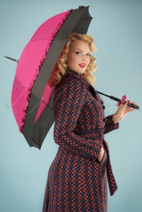50s Seduction Pin Dots Umbrella in Pink and Black