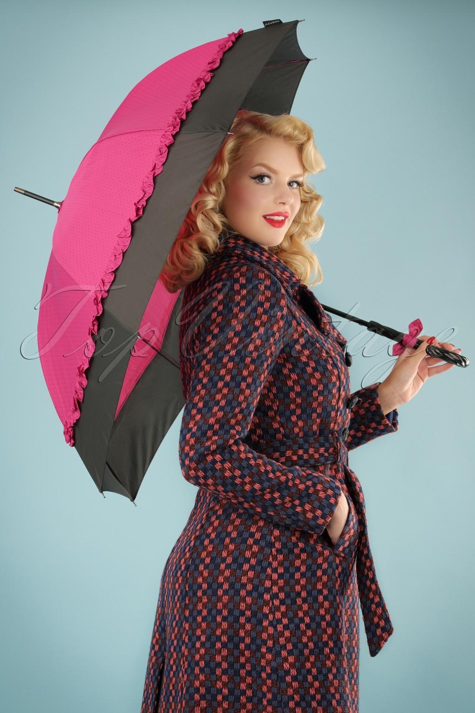 Vintage Style Parasols and Umbrellas 50s Seduction Pin Dots Umbrella in Pink and Black £17.49 AT vintagedancer.com