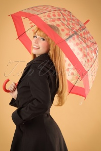 Polkadot Transparent Dome Umbrella Années 60 en Rouge