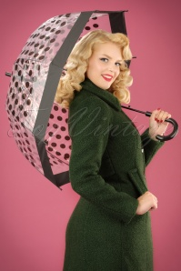 Polkadot Transparent Dome Umbrella Années 60 en Noir