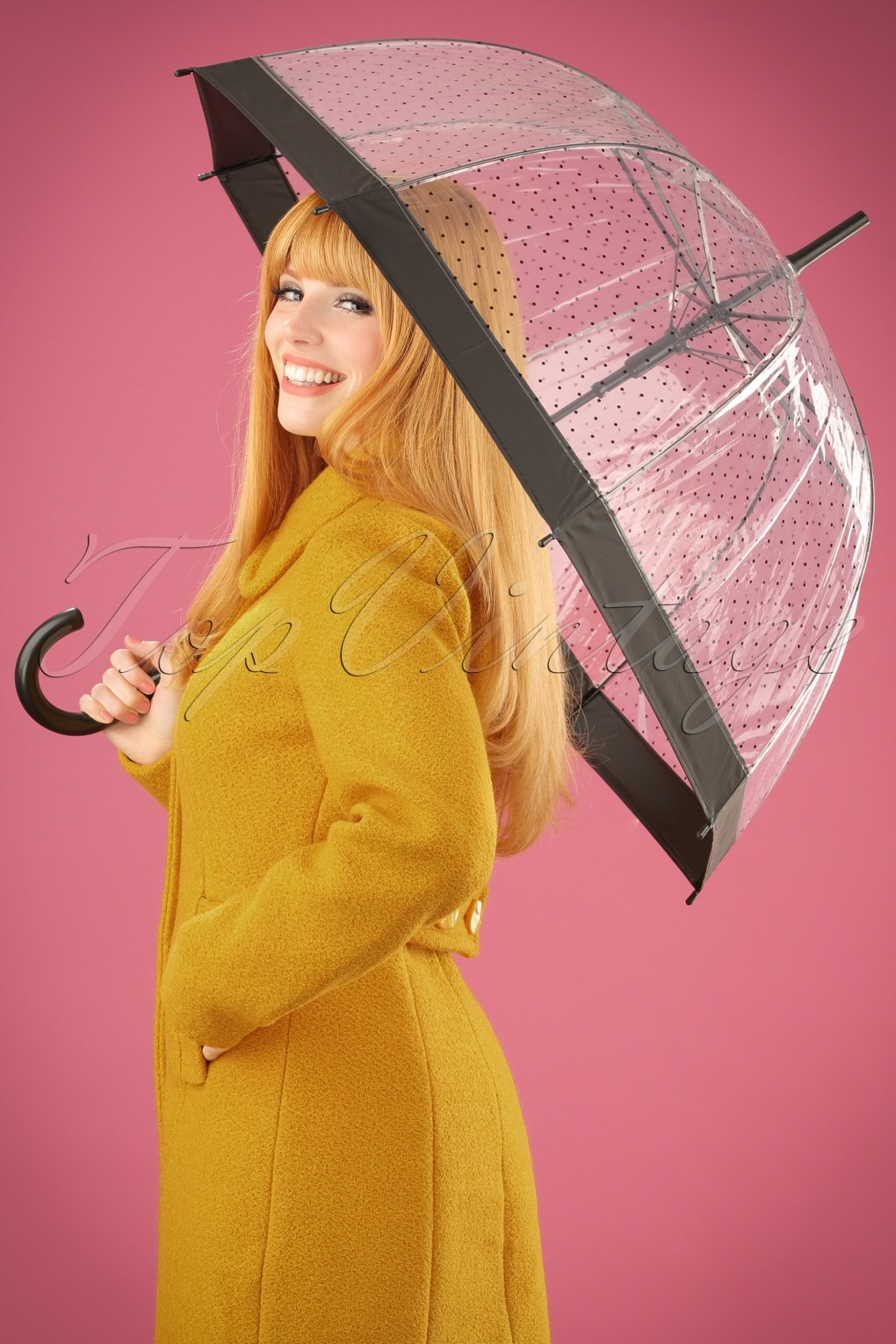 60s Fancy Dress and Quality Clothing 1960s UK 60s Lady Dot Transparent Dome Umbrella in Black £15.99 AT vintagedancer.com