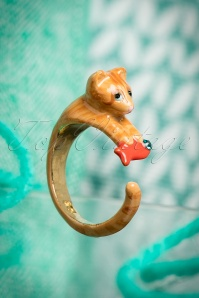Playful Kitten And Goldfish Ring Années 50 en Or