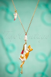 50s Playful Kitten Grabbing The Curtain Necklace Gold Plated
