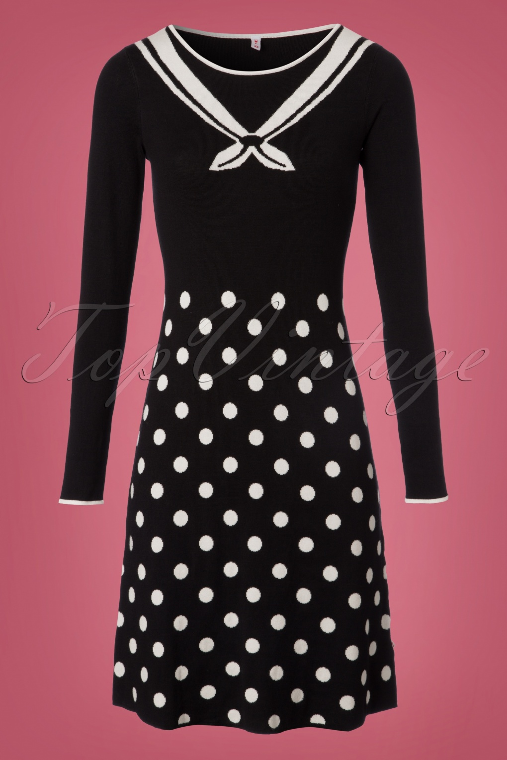 Sailor Dresses, Nautical Dress, Pin Up & WW2 Dresses 60s Three Wishes Dress in Pearls of Snow Black £88.11 AT vintagedancer.com
