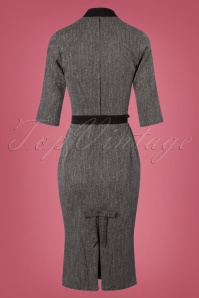 Miss Candyfloss Black and Grey Bow Pencil Dress 100 15 22130 20170922 0007w