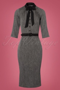 Miss Candyfloss Black and Grey Bow Pencil Dress 100 15 22130 20170922 0002w