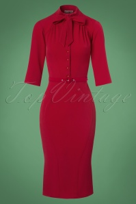 Miss Candyfloss Red Pencil Dress 100 20 22129 20170725 0002w