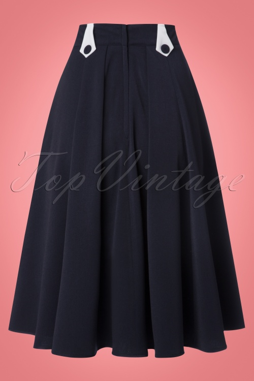 50s swing skirt in navy and white