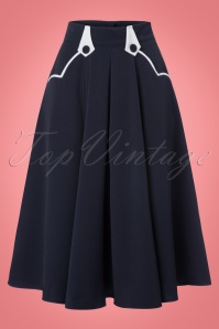 Miss Candyfloss Plain Sailor Blue Swing Skirt 122 31 22209 20170922 0001w