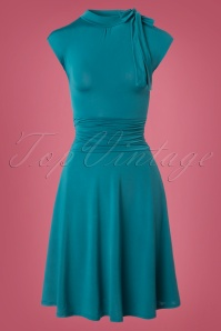 Retrolicious Emerald Blue Bow Dress 102 40 23165 20170922 0001W