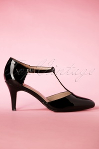 50s Camomile Shiny T-strap Pumps in Black