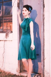 Retrolicious Emerald Blue Bow Dress 102 40 23165 20170922 0009