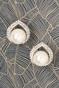 50s Gracie Big Pearl Earrings in Silver
