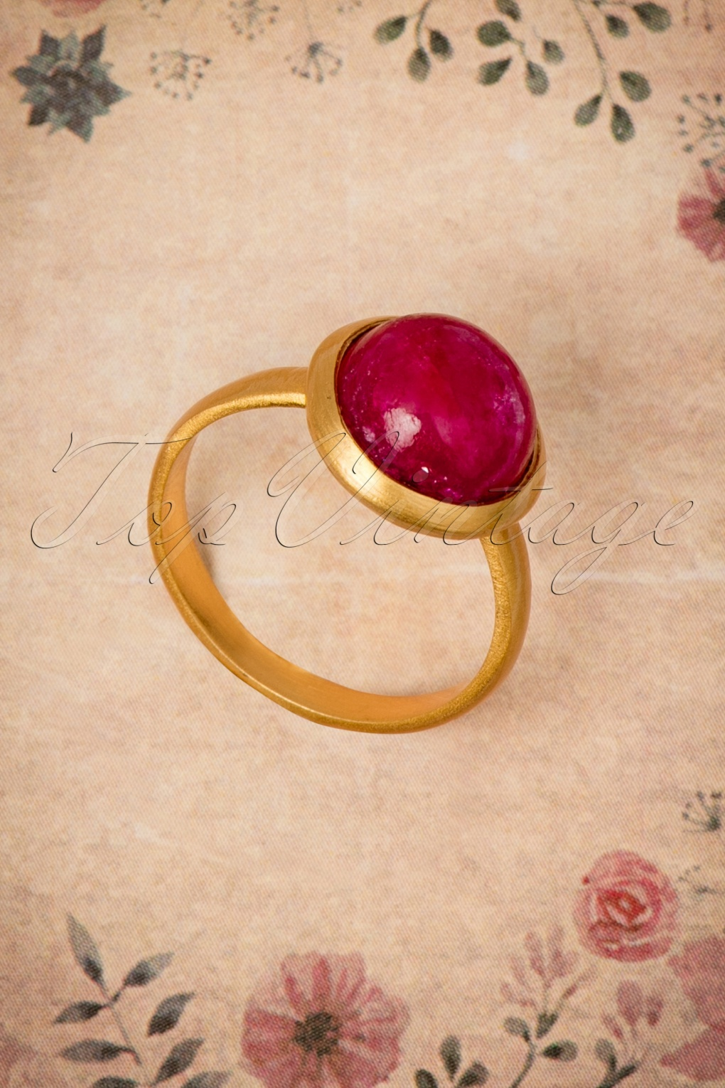 1960s Costume Jewelry – 1960s Style Jewelry 60s Ruby Full Moon Ring in Gold £53.90 AT vintagedancer.com