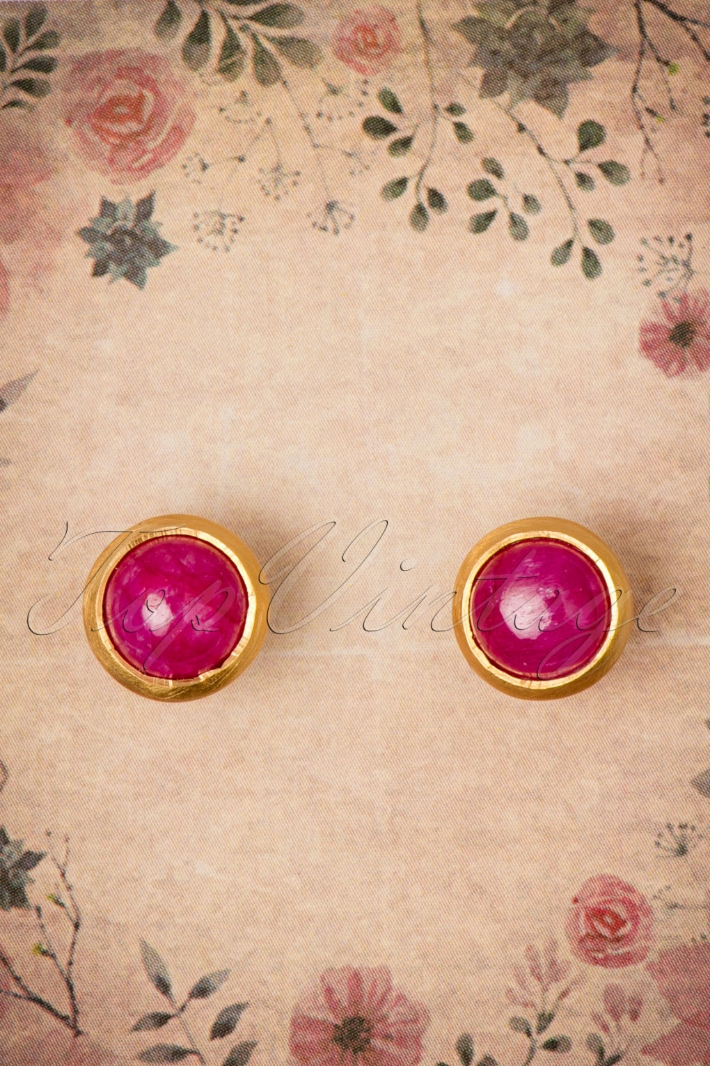 1960s Costume Jewelry – 1960s Style Jewelry 60s Ruby Full Moon Earstuds in Gold £40.41 AT vintagedancer.com