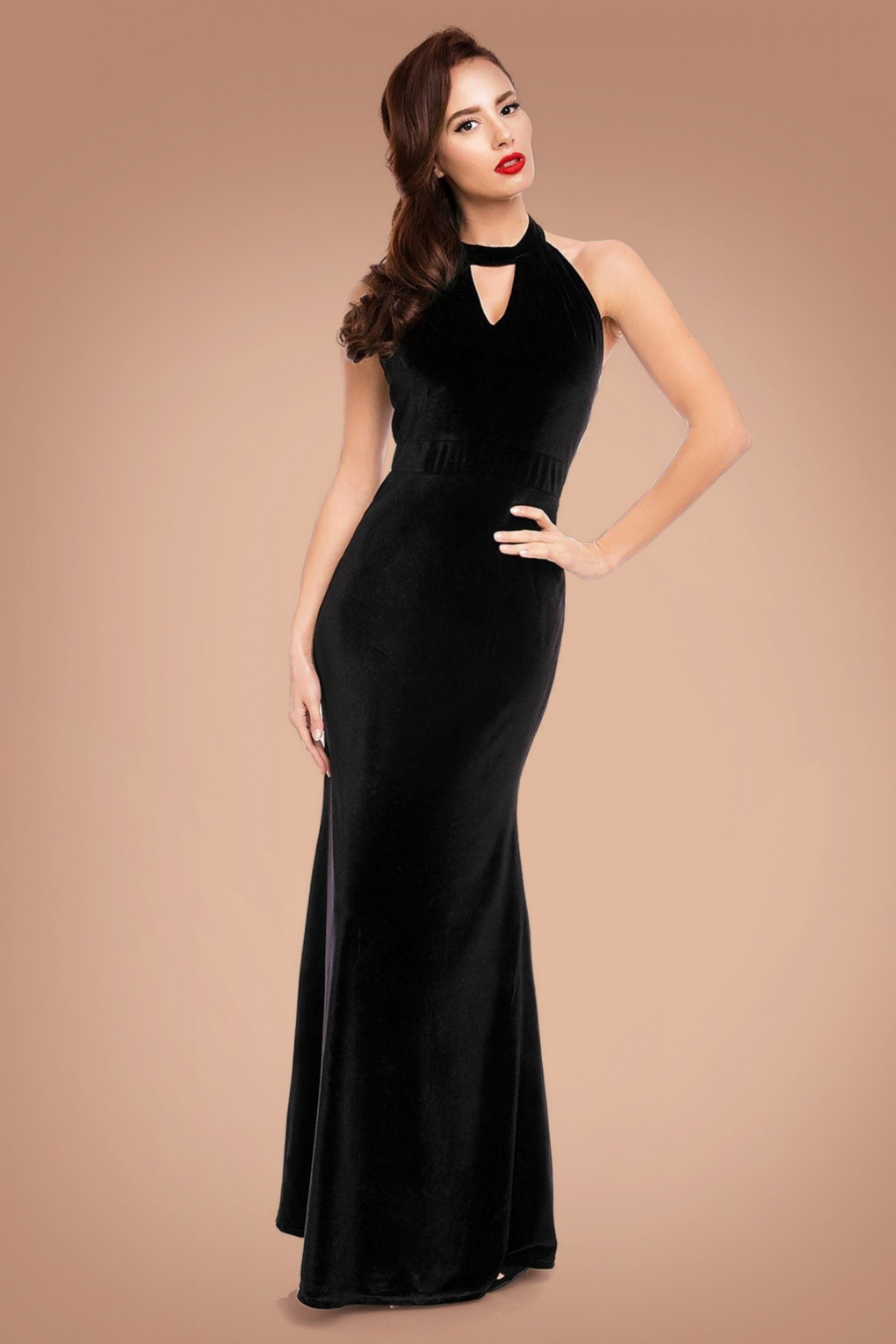 1950s Prom Dresses & Party Dresses 50s Eleanor Halter Maxi Dress in Black Velvet £57.93 AT vintagedancer.com