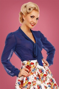Dolly and Dotty Bow Blouse in Blue 112 30 22966 20170926 0007