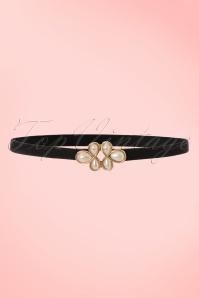20s Pearl Clasp Waist Belt in Black