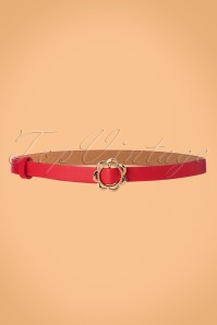 60s Flower Buckle Belt in Red