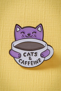 Cats and Caffeine Enamel Pin Années 60