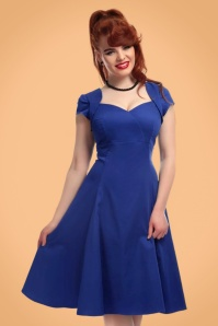 Collectif Clothing Regina Plain Doll Dress in Blue 21845 20170613 020