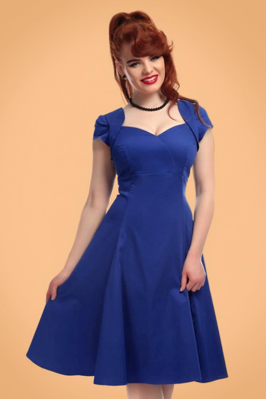 50s regina doll swing dress in royal blue. Black Bedroom Furniture Sets. Home Design Ideas