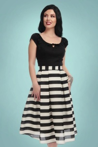 Collectif Clothing Marilu Striped Swing Skirt in Black and White 21929 20170606 0025