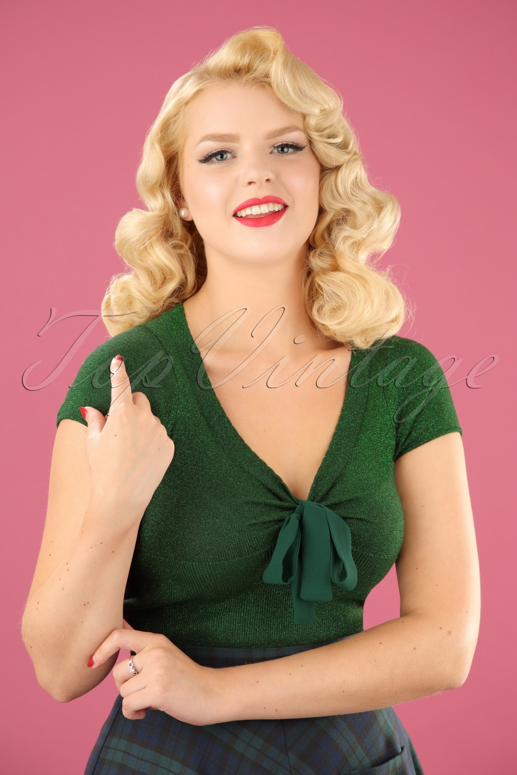 1950s Style Sweaters, Crop Cardigans, Twin Sets 50s Angette Sparkling Top in Green £38.76 AT vintagedancer.com