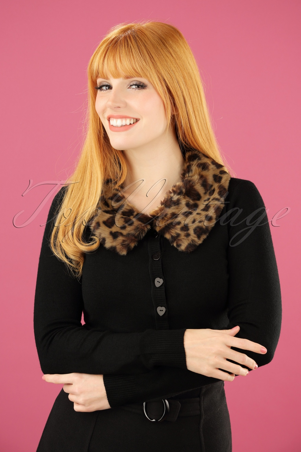 1950s Style Sweaters, Crop Cardigans, Twin Sets 50s Pietra Leopard Collar Cardigan in Black £55.00 AT vintagedancer.com