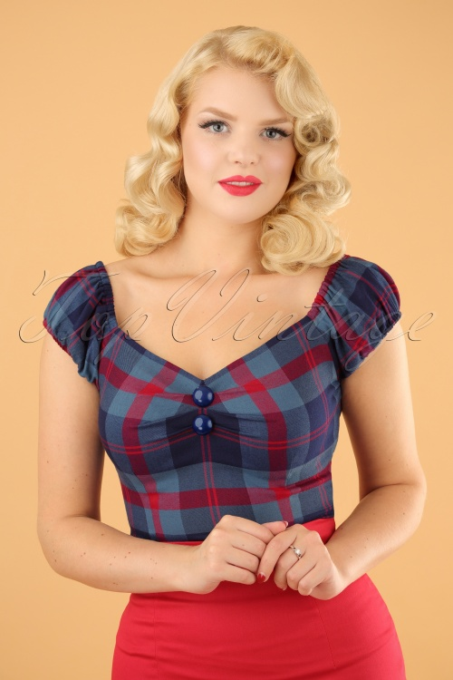Collectif Clothing Dolores Merida Check Top in Blue 21958 20170607 0001a w