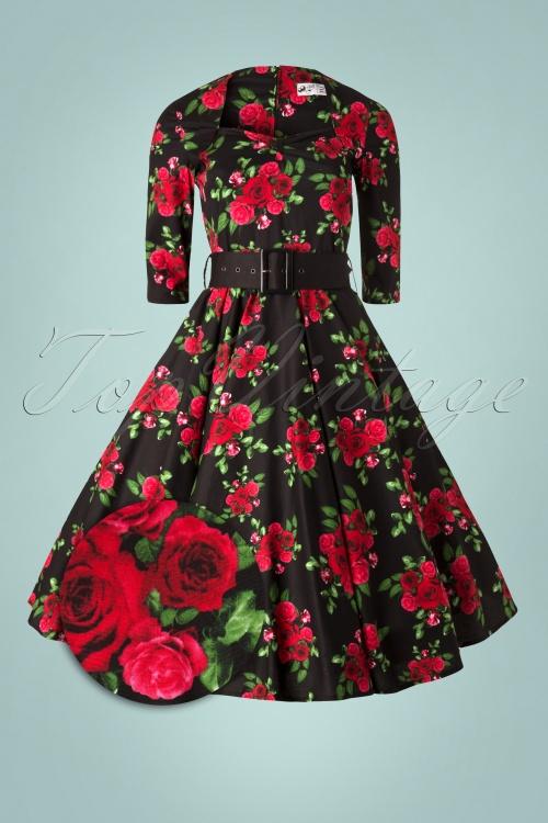 405840bd3185e4 Eternity 50s Black Swing Dress Red Roses