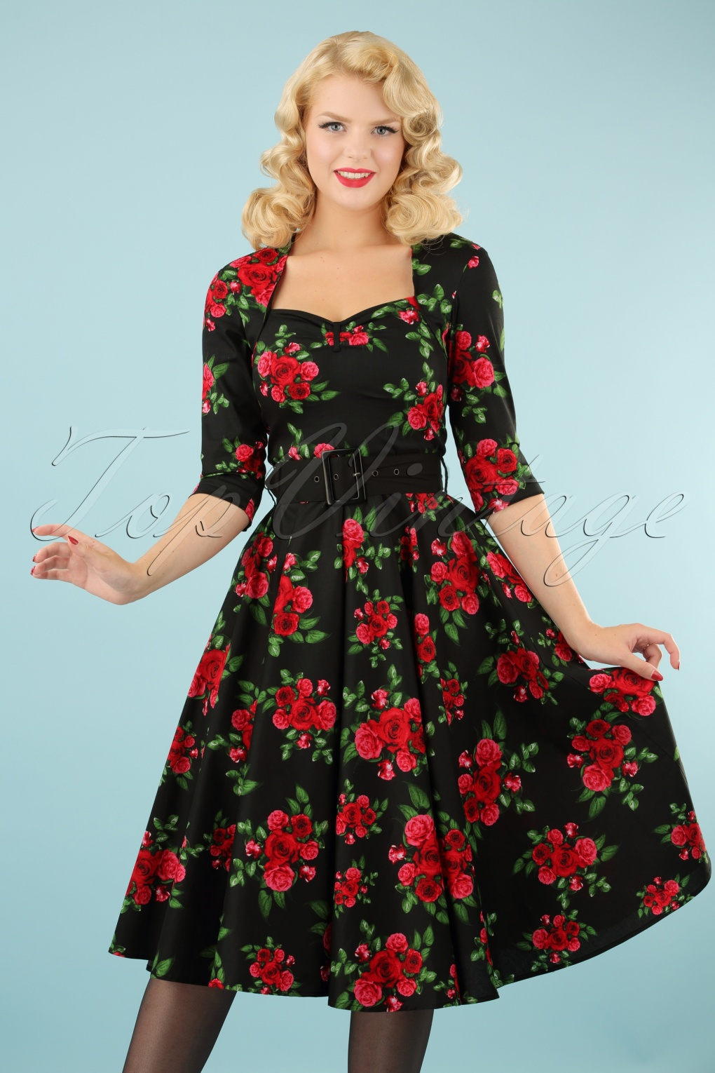 Eternity 50s Black Swing Dress Red Roses