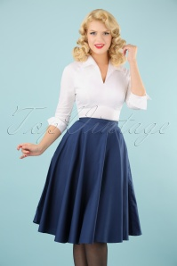 Bunny 50s Paula Swing Skirt in Navy