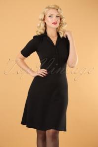 40s Milano Diner Crepe Dress in Black