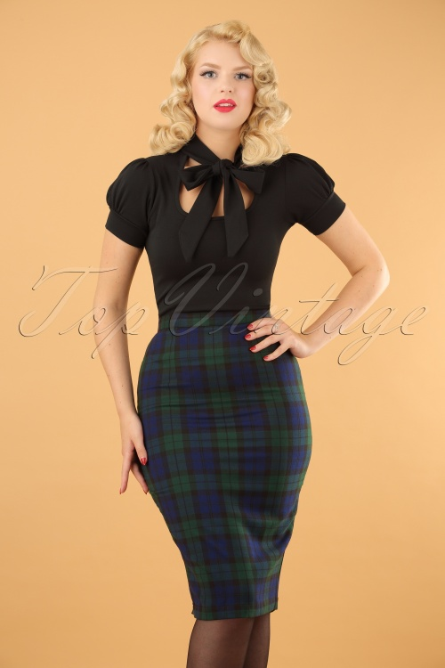 Bunny Jodie Dublin Tart Check Blue Green Pencil Skirt 120 39 16740 20150831 001 (2)w