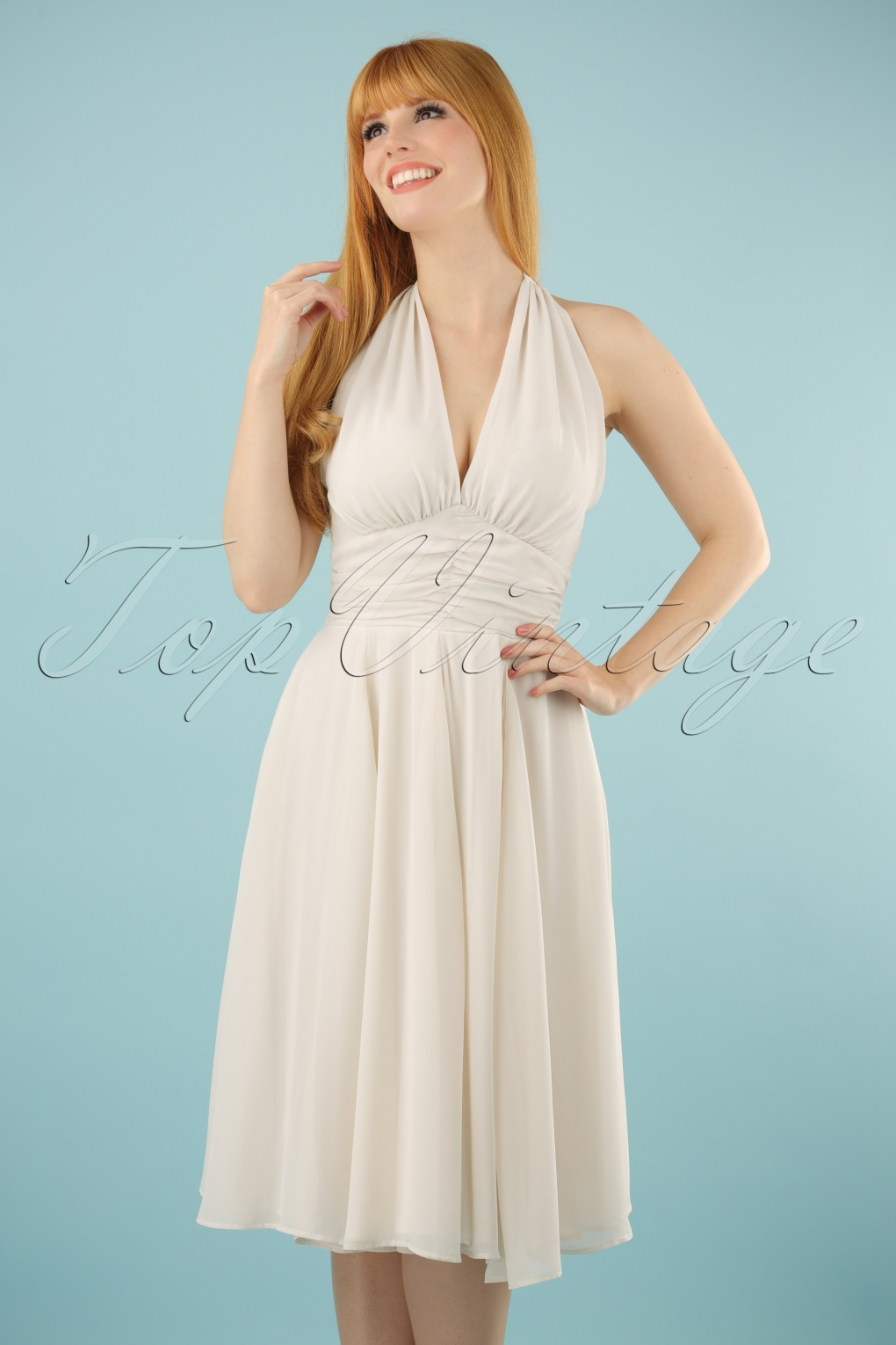 Vintage Inspired Cocktail Dresses, Party Dresses 50s Monroe Dress in Ivory White £49.58 AT vintagedancer.com