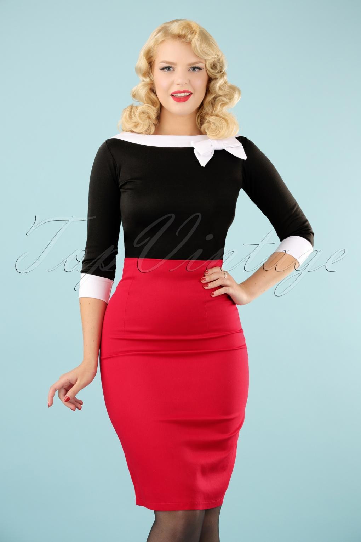 50s Falda Pencil Skirt In Red