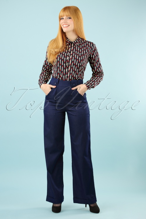 Dancing Days by Banned Dark Denim Hattie Blue Trousers 131 30 17851 20160308 0003 (2)w